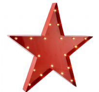 Red Metal Star Circus Wall Light with LED's XL